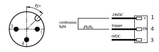 Connection via M12-A 3P (M) connector 4 A